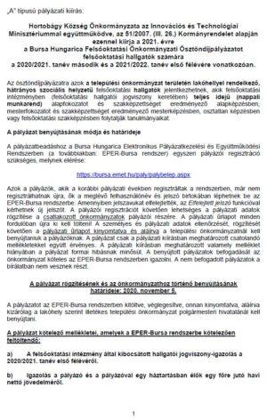 Bursa Hungarica Felsőoktatási Önkormányzati Ösztöndíjpályázat felsőoktatási hallgatók számára