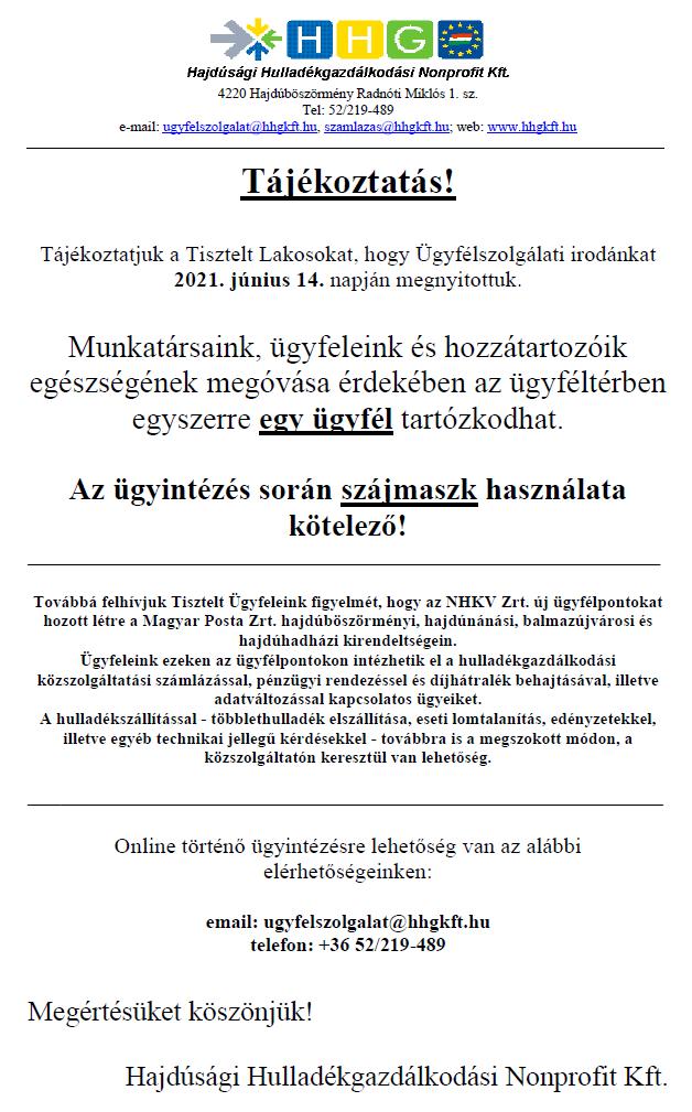HHG Kft. tájékoztatója ügyfélszolgálati iroda nyitvatartásáról