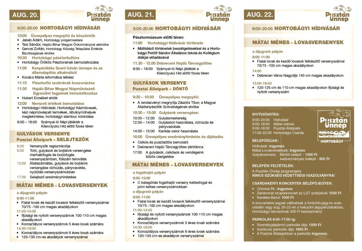 Pusztán Ünnep - részletes program
