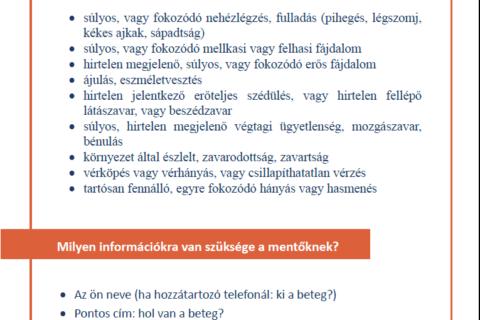 Információ COVID-19 tünetek esetén